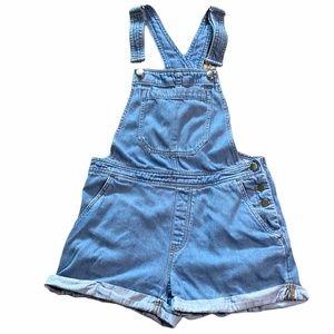 H&M Cuffed Denim Bib Overall Shorts Sz. 8